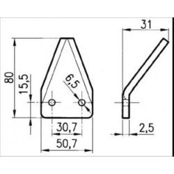 SEZIONE LISCIA D2001 PIEGATA (50x80x2,5 - 2 FORI 6,5)