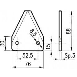 SEZIONE LISCIA 036 76x88x3 INT. 52,5 foro diam. 8,5 PIEGATA A 55° AD. MUTTI