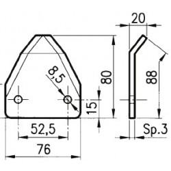 SEZIONE LISCIA 76x88x3 INT. 52,5 fori diam. 8,5 PIEGATA IN PUNTA AD. FARESIN