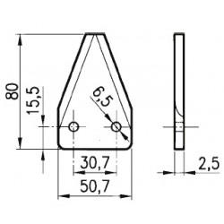 SEZIONE RIGATA SOPRA D2001 DIRITTA (50x80x2,5 - 2 fori 6,5) P86773