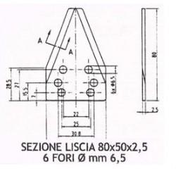 SEZIONE LISCIA D2001 DIRITTA Dimensioni mm 50x80x2,5 - 6 fori da 6,5