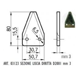 SEZIONE LISCIA D2001 DIRITTA Dimensioni mm 50x80x3,0 - 2 fori da 6,5