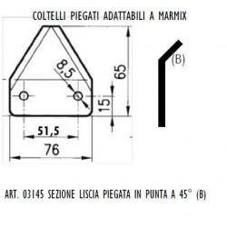 SEZIONE LISCIA PIEGATA IN CENTRO AD. MARMIX Dimensioni mm76x3 int.51,5 fori diam.8,5 piegata in centro a 45°
