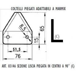 SEZIONE LISCIA PIEGATA IN CENTRO AD. MARMIX Dimensioni mm76x3 int.51,5 fori diam.8,5 piegata in centro a 90°