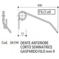 DENTE ANTERIORE CORTO SEMINATRICE GASPARDO FILO mm 9