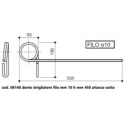 DENTE STRIGLIATORE FILO mm 10 mm 450 ATT. SOTTO