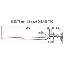 DENTE CARICATORE FRONTALE mm 38x890 DISASSATO