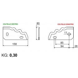 COLTELLO SETTORE DENTATO AD. GILIOLI Dimensioni mm 158x80 Dx/Sx
