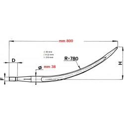 DENTE CARICATORE CURVO CONICO mm 38x800