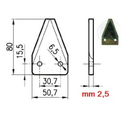 SEZIONE LISCIA D2001 DIRITTA mm 50X80 SPESSORE 2,5 - FORI 6,5