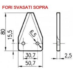 SEZIONE LISCIA D2001 DIRITTA mm 50x80 spessore 2,5 fori 6,5 SVASATI SOPRA