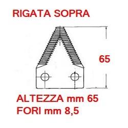 """SEZIONE RIGATA SOPRA da 2"""" altezza mm 65 spessore mm 3.5 fori mm 8,5 (P87463)"""