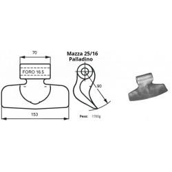 MAZZA EU25/16 - RM95 (PALLADINO LISCIA) foro mm 16,5