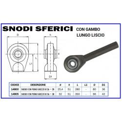 SNODO SFERICO TONDO CON PERNO LUNGO LISCIO D. mm 36 CAT. 3