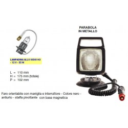 FARO LAVORO QUADRATO AJBA con supp. magnetico, interr., maniglia e cavo (LAMPADINA H3)