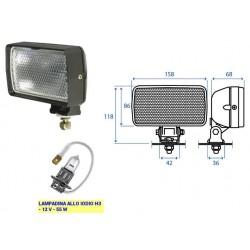FARO LAVORO RETTANGOLARE COBO con supporto orientabile (mm 158x86) (LAMPADINA H3)
