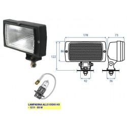 FARO LAVORO RETTANGOLARE COBO grande con supporto orientabile (mm180x86) (LAMPADINA H3)