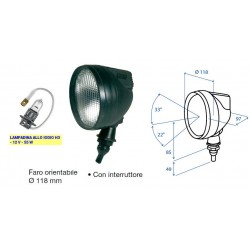 FARO LAVORO ROTONDO diam. 118 COBO con interruttore (LAMPADINA H3)