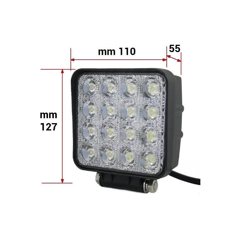 FARO LAVORO LED QUADRATO 12/24 V 16 LED x 3 W (3300 LUMENS)