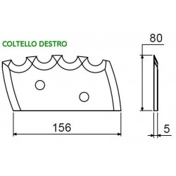 COLTELLO 1 TAGLIENTE DENTATO mm 156x80 AD. MUTTI