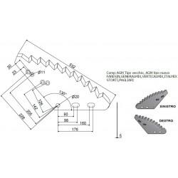 LAMA CARRO VERTICALE 532x289x5 mm NAZIONALE CROMO-TUNGSTENO (UNIVERSALE)