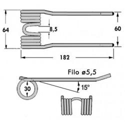 DENTE ROTOPR.WOLVO-MORRA U.T.STRETTA (L mm 64 ATT.BASSO CON PIEGHE)