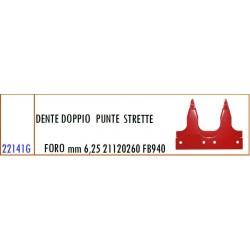 DENTE DOPPIO FORO PUNTE STRETTE mm 6,25 21120260 GASPARDO FB940 - ORIGINALE